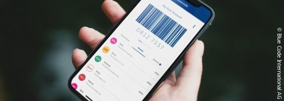 Bezahl-App Bluecode auf Smartphone-Bildschirm; copyright: Blue Code International AG